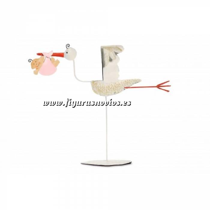 Imagen Figuras de Bautizo Figura Tarta Cigüeña Plana metal ROSA