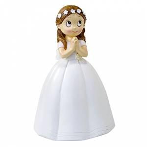 Figuras de Comunión - Figura Tarta Comunión Niña Vestido Largo y Corona Flores 16.5 cm