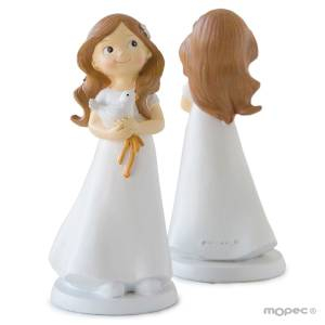 Figuras de Comunión - Figura Tarta Comunión Niña con paloma en manos 16cm