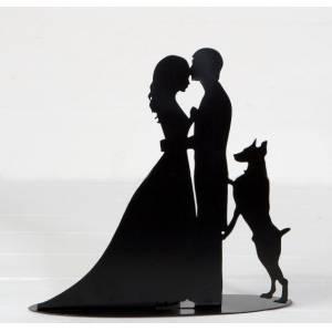 Novios tarta Clásicos - Figura portavela pastel novios y perro con vela