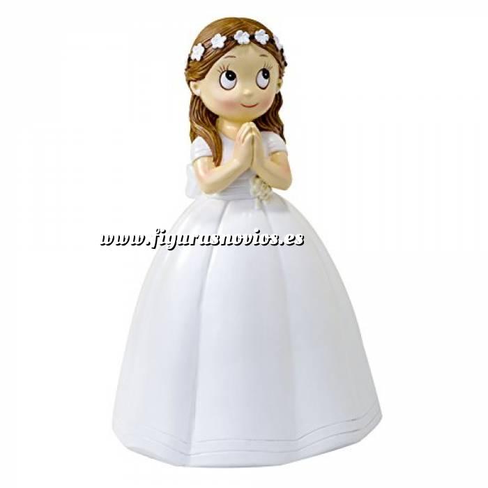 Imagen Figuras de Comunión Figura Tarta Comunión Niña Vestido Largo y Corona Flores 16.5 cm