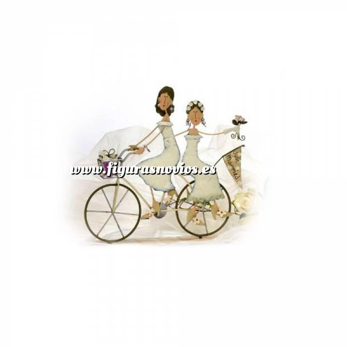 Imagen Novios Tarta Modernos Novios Tarta Metal 2 chicas en Bicicleta