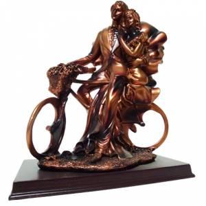Cl�sicas - Novios tarta resina bronce en bici (�ltimas Unidades)