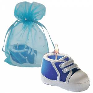 Detalles de Bautizo - Vela Zapatilla en bolsa de organza azul
