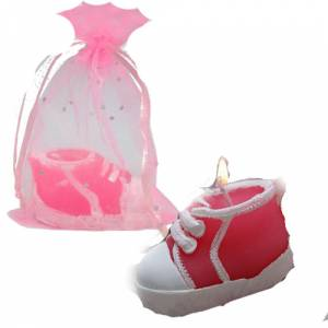 Detalles de Bautizo - Vela Zapatilla en bolsa de organza rosa (Últimas Unidades)