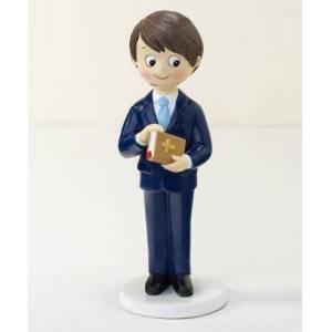 Figuras de Comunión - Figura Tarta Comunión Niño traje azul y biblia